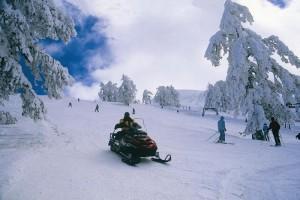 Όχημα και χιονοδρόμοι σε δράση