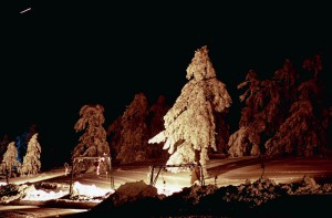Κάποιες φορές τον χρόνο διοργανώνονται βραδιές νυχτερινού σκι